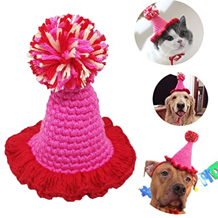 PET SHOW Small Dog Birthday Hat For Puppies Cats Party Costumes Handmade Yarn Pet Hats Pink