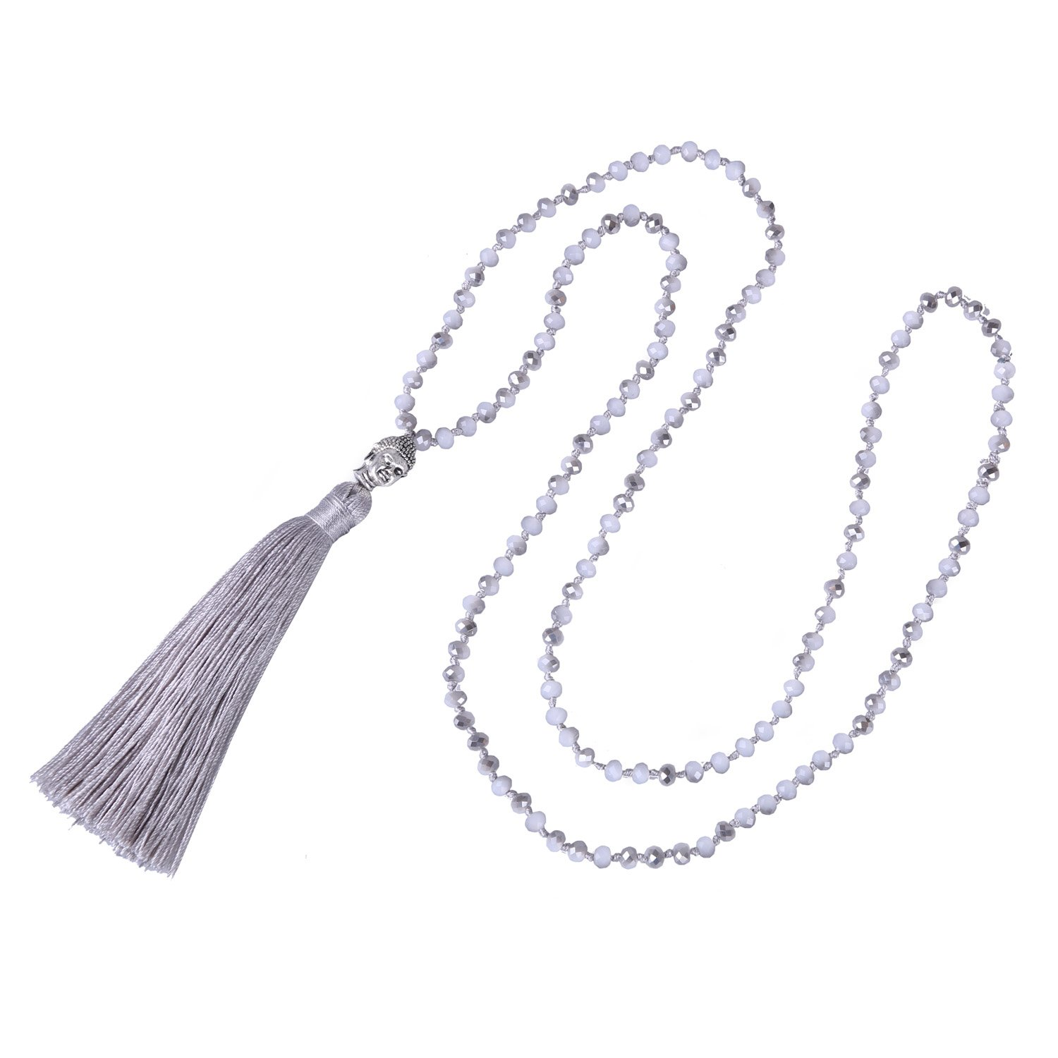 KELITCH Handmade AB Crystal String Beads Long Necklace with Buddha Head Tassel Pendant, Gray