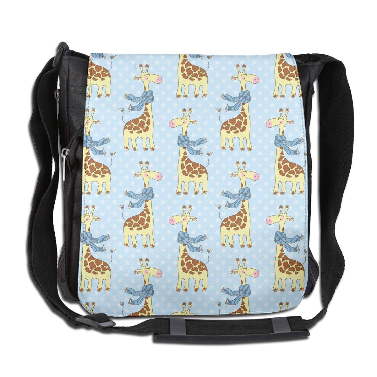 Cartoon Scarf Giraffe Men Women Inspirational Satchel Messenger Bags Crossbody Sling Working Bag Travel Shoulder Bags Office//School