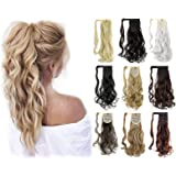 "Felendy 18"" 24"" Ponytail Extension Curly Straight Drawstring Hairpiece Wrap Around Long Hair Extension for Women"