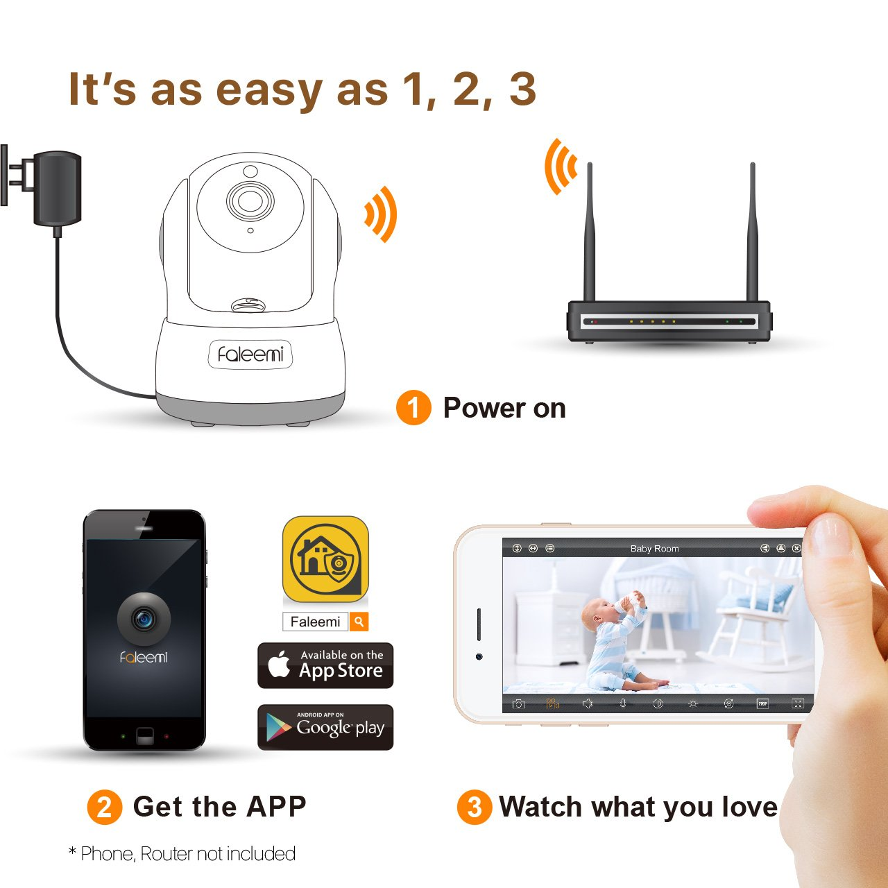 Faleemi HD Pan/Tilt Wireless WiFi IP Camera, Home Security Video Surveillance Camera with Two Way Audio, Night Vision for Baby/Elder/Pet/Office Monitor Nanny Cam FSC776W (White) by faleemi (Image #5)