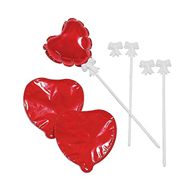 Red Heart Mylar Balloons - set of 12 self inflating balloons - Great Valentine's Day Supplies: Toys & Games