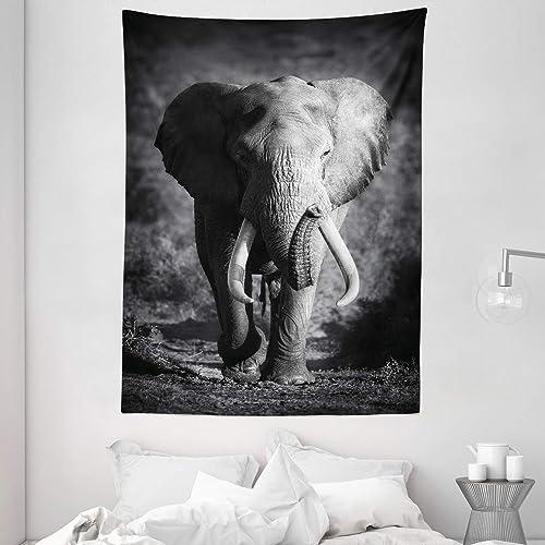 Ambesonne Elephant Tapestry, Majestic Elephant Bull Approaching Photo Exotic Wild Habitat Mammal Art Print Safari, Wall Hanging for Bedroom Living Room Dorm, 60 X 80 , Grey