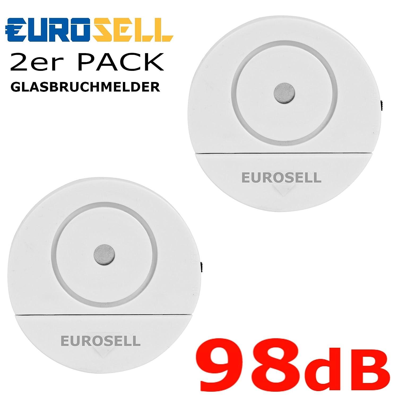 Eurosell - 2 Stück Fenster Glasbruch Alarm Sensor + Sirene - Einbruch Diebstahl Schutz ! Fensteralarm Glasbruch Alarmanlage Alarm Alarmsystem Mini Glasbruchmelder