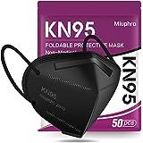 KN95 Face Mask 50 Pack, Miuphro Black KN95 Masks, 5 Layer Design Safety Mask for Protection, Dispoasable Masks Respirator for