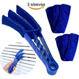 Window Blinds Cleaner Brush With 3 Microfiber Sleeves Removable For Window Blinds Duster Air Conditioner Jalousie