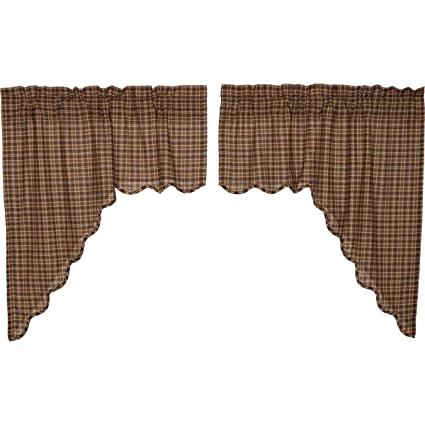 VHC Brands Prescott Swag Scalloped Lined Set of 2 36x36x16