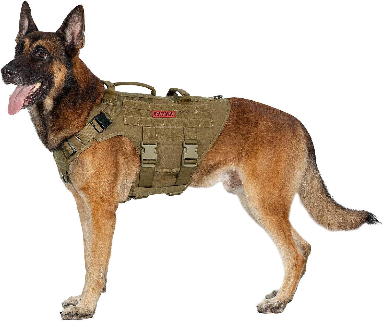 OneTigris K9 X Destroyer - Arnés táctico para perro con 3 asas y hebillas de metal