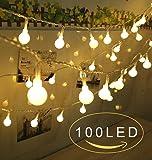 LEDイルミネーションライト 12M 100球 ストリングライト USB給電式 クリスマス飾り ワイヤーライト パーティー電飾 ウォームホワイト
