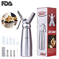 GANKE Cream Whipper Dispenser, Professional Aluminum Whipped Cream Dispenser with 3 Stainless Steel Decorating Nozzles/3 Plastic Nozzles/3 Charge Holder and Cleaning Brush, Uses Standard N20 Cartridges (Not Included), 0.5 Liter Whipped Cream Dispenser for Decorating a Birthday Cake, Belgian Waffle, Pancake, Ice Cream and Many Other Desserts.