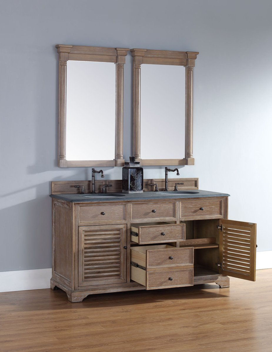 In Double Vanity Cabinet In Driftwood Finish Amazoncom - Louvered door bathroom vanity
