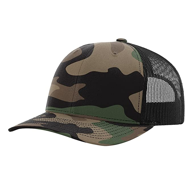 Richardson 112P Green Camo Black Structured Snap Back Trucker Hat at ... ba71d696b24