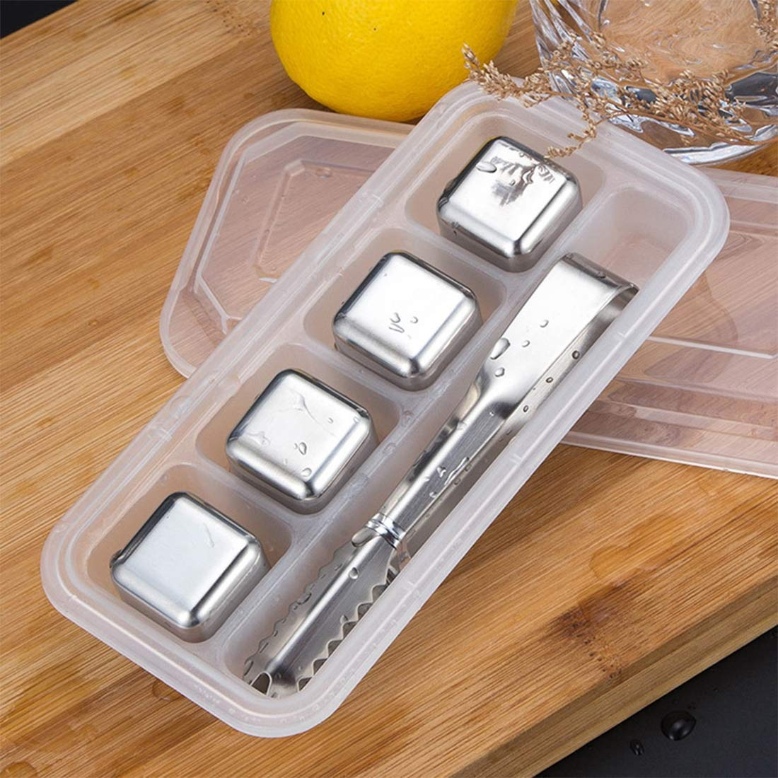 SONGYANG Ice Cube Reusable Stainless Steel Ice Cubes Set Drinks Stones with Tongs for Cooling Whiskey, Vodka, Wine, Beer, Beverage,All Drinks,B by SONGYANG
