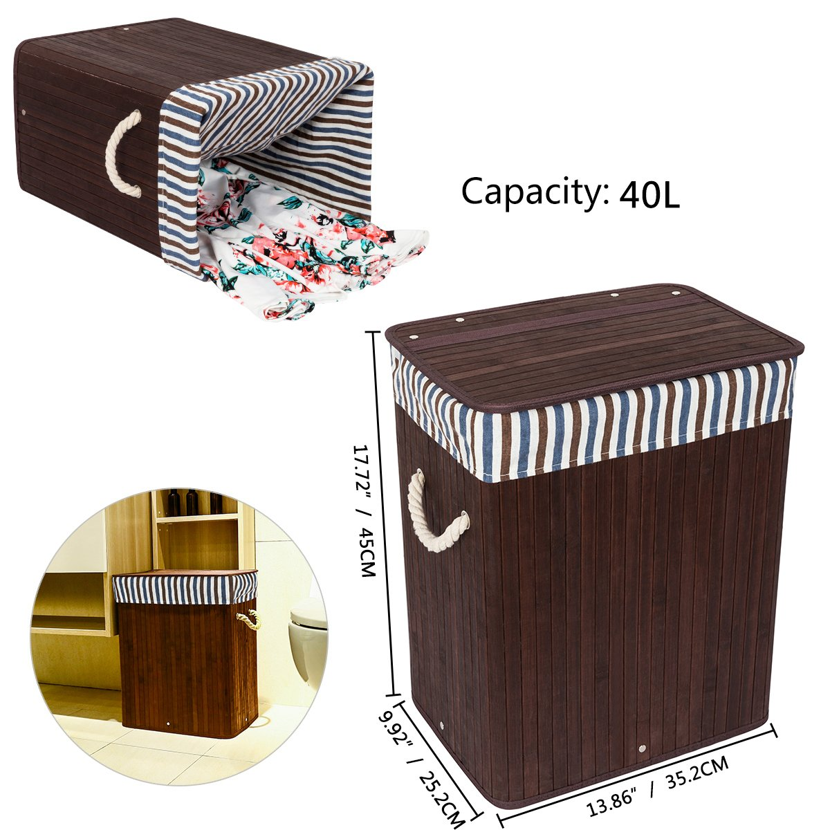 WOWLIVE Bamboo Laundry Hamper Lid Laundry Basket Rectangular Collapsible Organizer Dirty Clothes Washing Bin (40L)