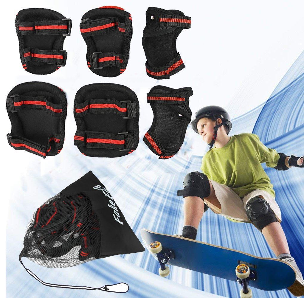 e78723e8ddbb 6 Pcs Skating Protective Gear Set Kid Knee Pad Elbow Wrist Guard Boy Girl  Skateboard Adjustable