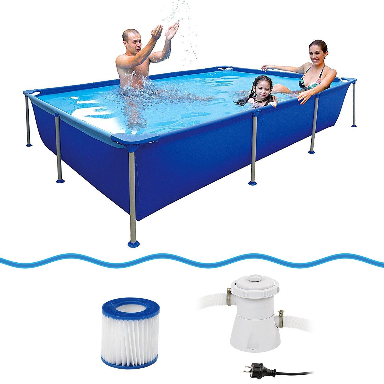 Jilong 6920388627108 Marco de acero - Set de platillos de piscina rectangular, con cartuchos de filtro Bomba, 258 x 179 x 66 cm, passaat Azul: Amazon.es: ...