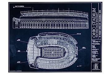 Amazon ohio stadium blueprint style print unframed 18 x 24 ohio stadium blueprint style print unframed 18quot malvernweather Images
