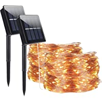 Solar String Lights Outdoor,ALED LIGHT 2 Pack 30M/98.2ft 300 LED Copper Wire Light Waterproof Luminous LED String…