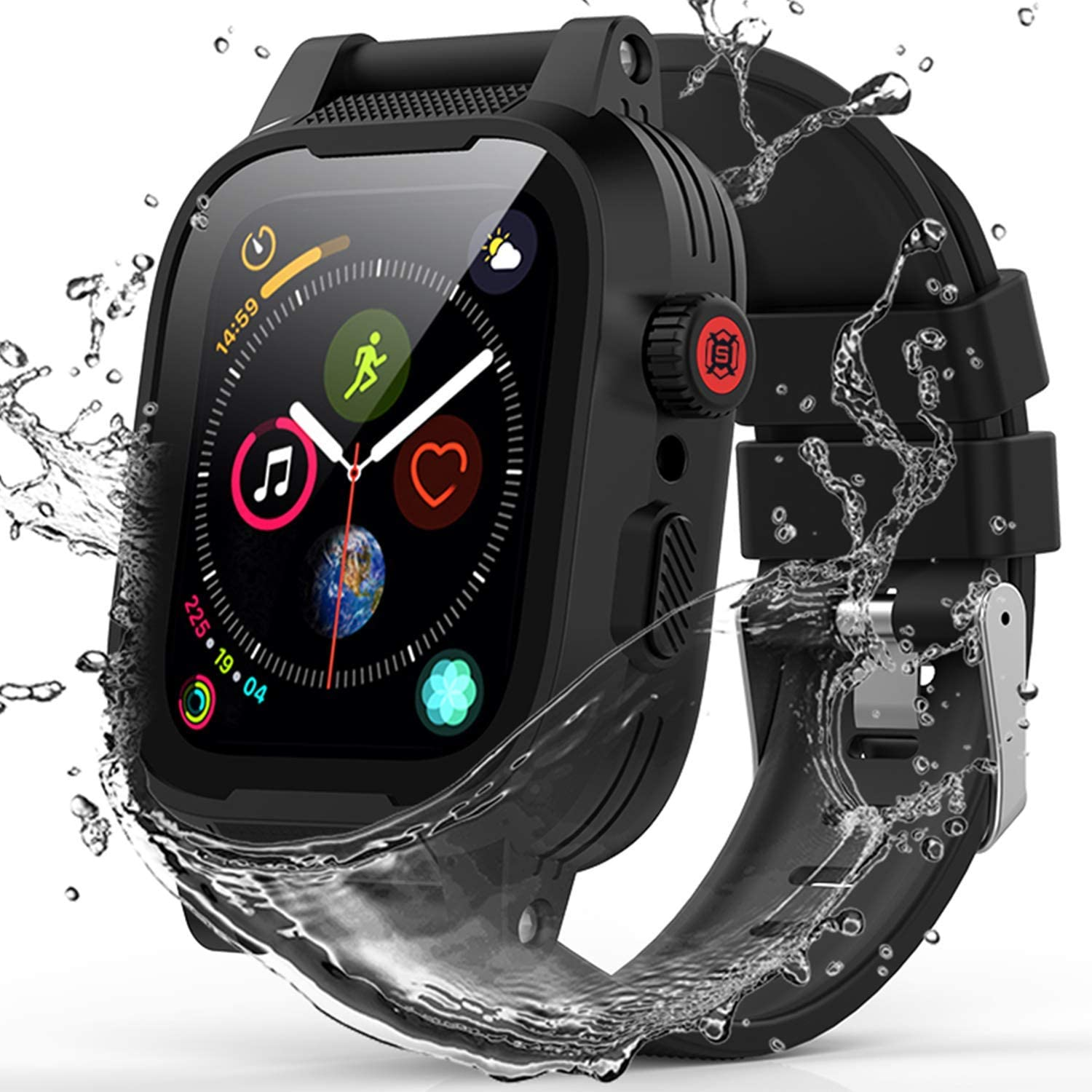 Upgrade for Apple Watch Case Series 2/3 42mm, YOGRE IP68 Waterproof Shockproof Dustproof Anti-Scratch Built-in Screen Protector iWatch Case All Round Protector Case (Add 2 Silicone Bands)