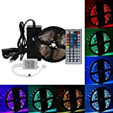 SUPERNIGHT LED Strip Lights - 16.4FT 300leds 5050 SMD RGB Color Changing Rope Lighting Nonwaterproof with 44Keys Remote Controller and 12V 5A Power Adatper