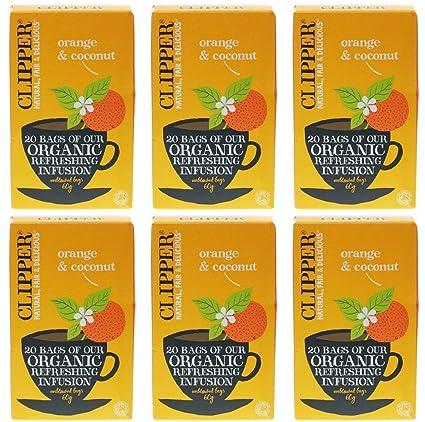Clipper - Paquete de 6 bolsas de 20 bolsas de naranja y coco ...