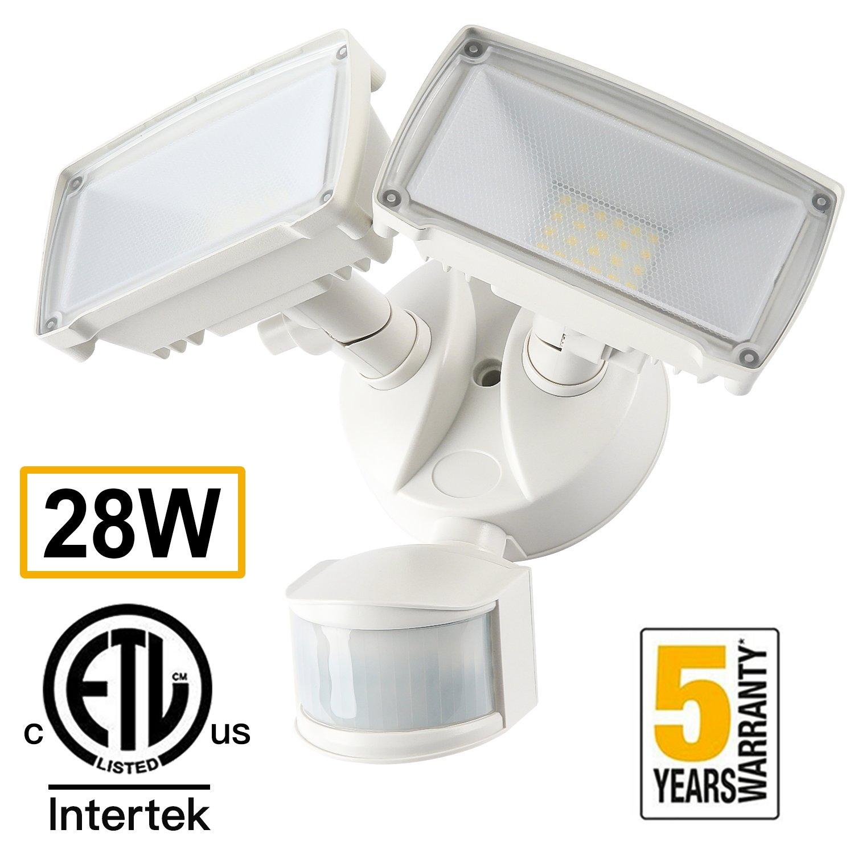 28W LED Security Light Outdoor Amico Motion Sensor Light Outdoor 2700LM 6000K Waterproof IP65 Adjustable Floodlight ETL & DLC Certificated Flood Lights for Yard Garage - White