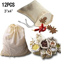 kingleder 12Pack Reusable Drawstring Cotton Soup Bags, Straining Herbs Cheesecloth Bags, Coffee Tea Brew Bags, Soup Gravy Broth Stew Bags, Bone Broth Brew Bags(3''x4'')