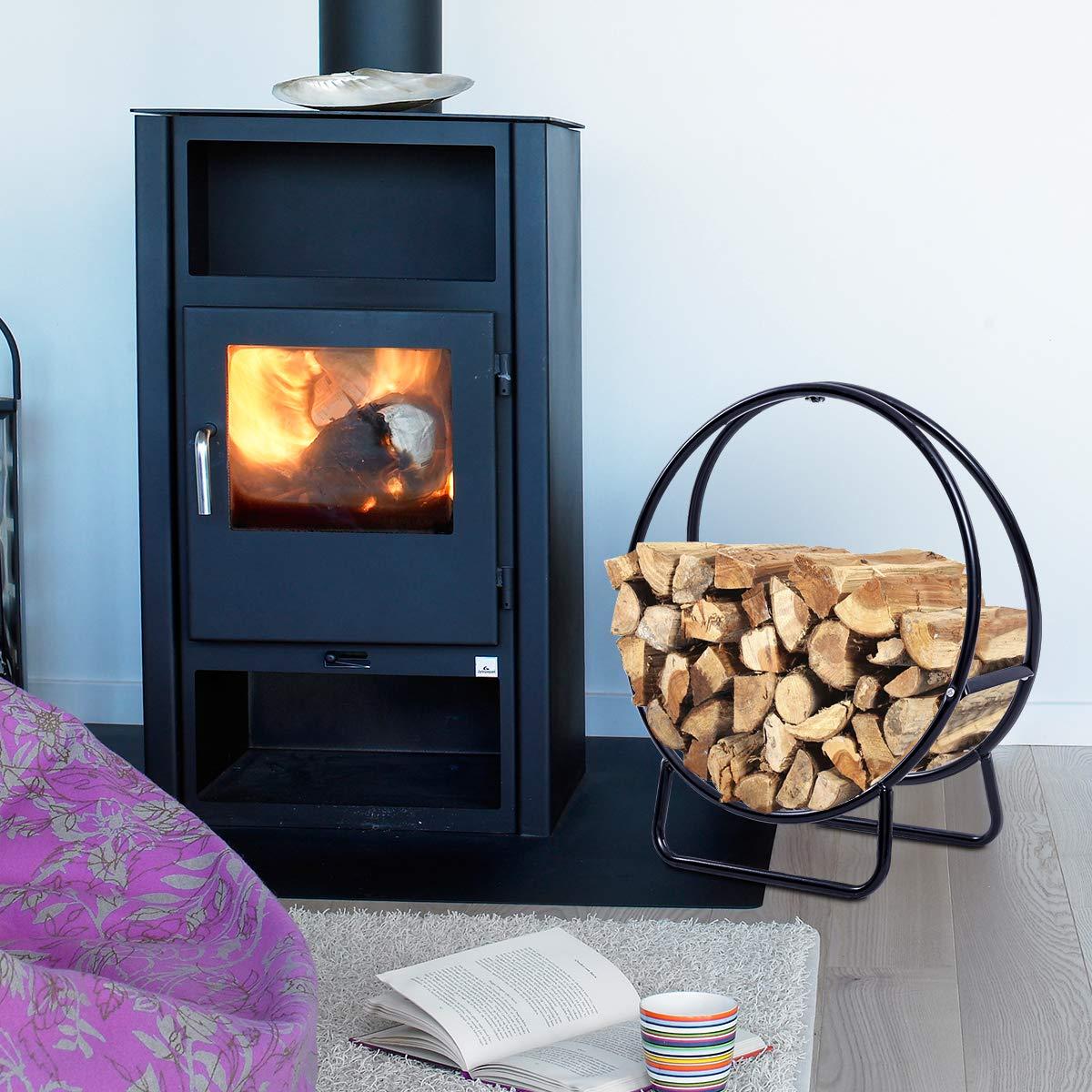 Goplus Firewood Log Hoop Tubular Steel Wood Storage Rack Holder Curved Display for Indoor /& Outdoor 24-Inch