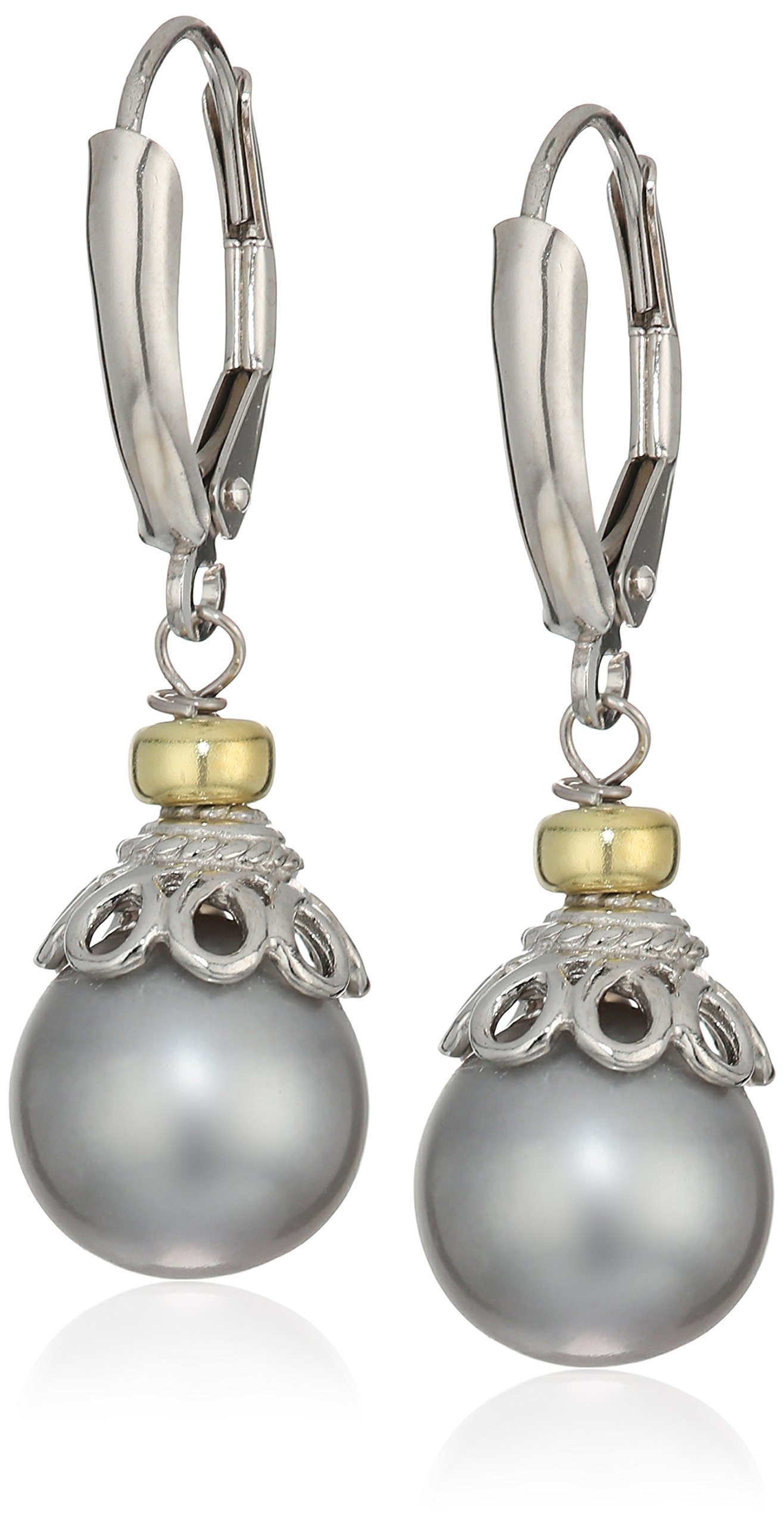 Sterling Silver 10-10.5mm Dyed-Grey Freshwater Cultured Pearl Cup Design Lever-Back Dangle Earrings