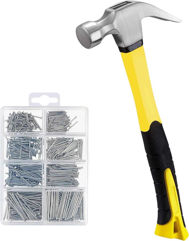 KURUI 16 oz Claw Hammer & 560PCs Hardware Nail Assortment Kit,framing Hammer Set with Anti-Slip Handle, Anti-Corrosive Galvanized 280 Picture Hanging Nails & 280 Finishing Nails for Household and DIY