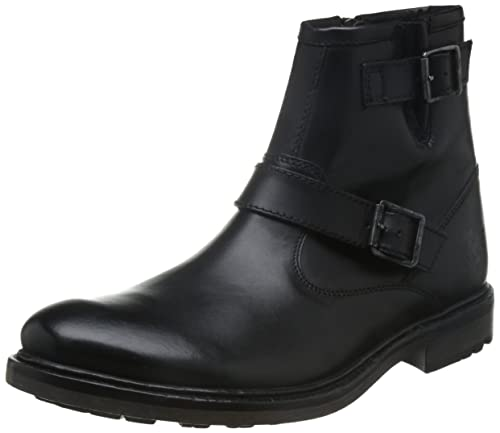 51f21b8fd12 Base London Mens Buckle Detail Ankle Boots Zinc - Waxy Black Leather ...