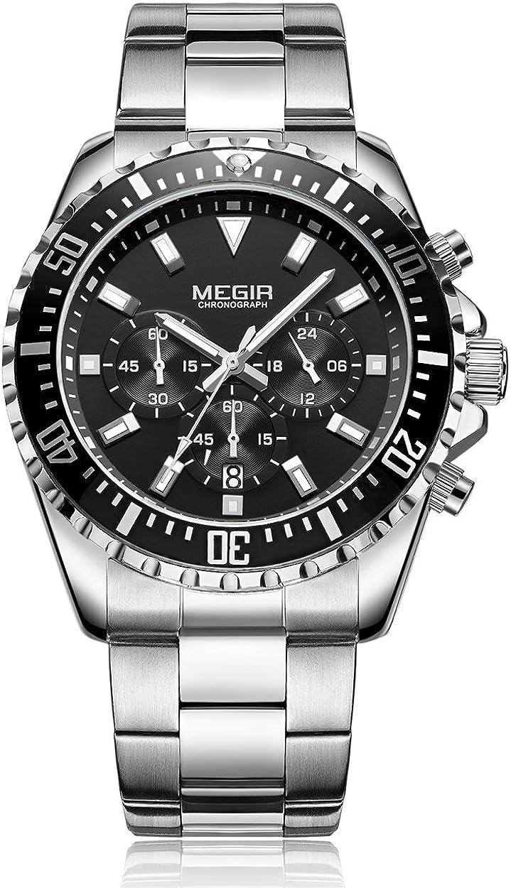 Reloj Megir para hombre, analógico, cronógrafo, con correa de acero inoxidable