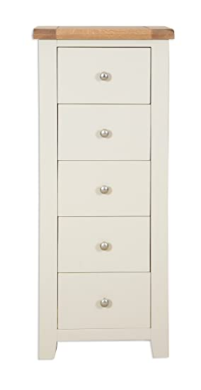 new product 0b100 77993 Hobart Ivory Rustic Oak Top Tall Narrow Chest of Drawers ...