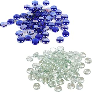 Houseables Glass Stone, Marbles, Pebbles for Vases, 5 LB Each, 800-1000 Stone, Blue, Clear, Flat Bottom, Round Top, Rocks, Bowl Filler Gems, Iridescent Decor, Decorative Centerpieces, Florist Supplies