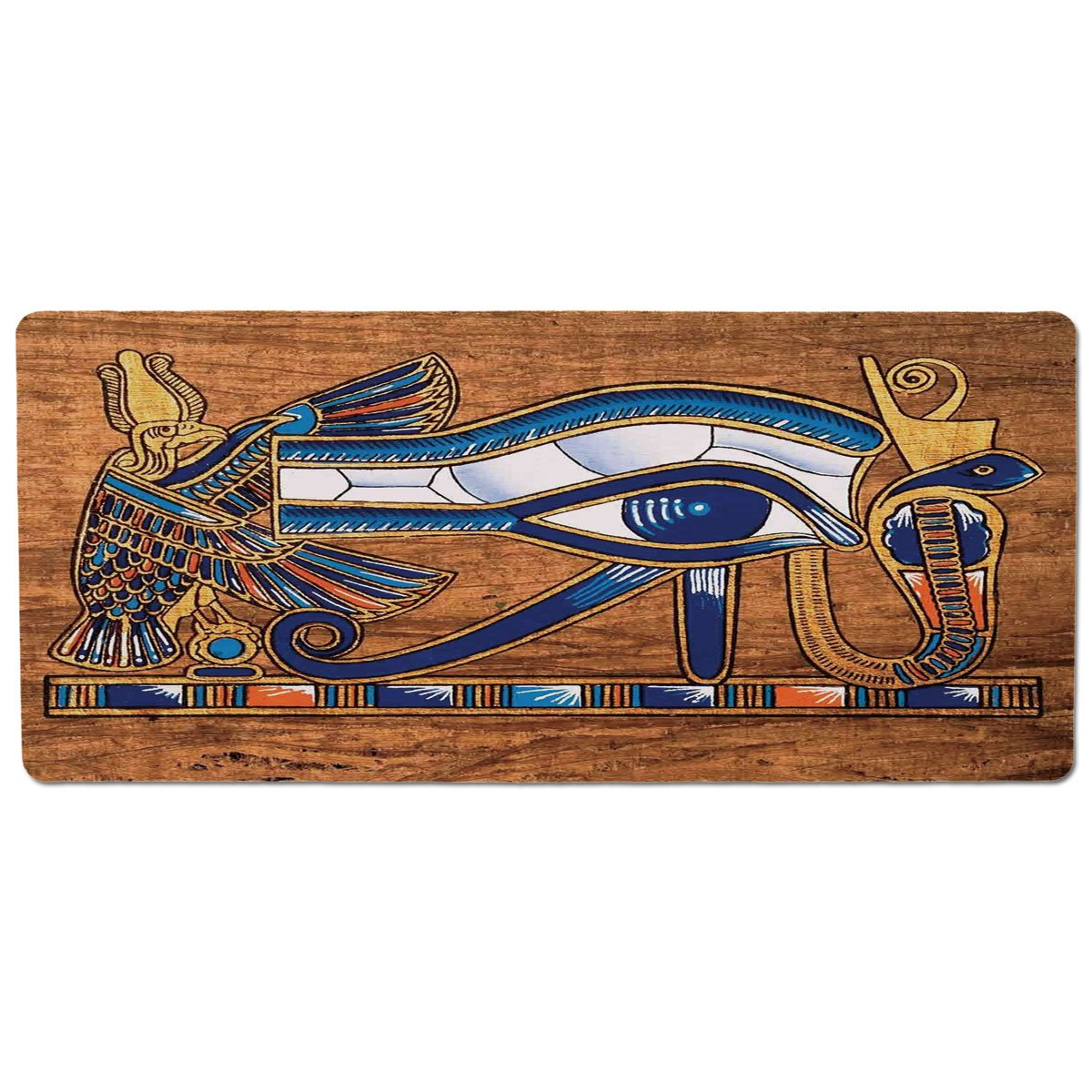 35.4\ iPrint Pet Mat for Food and Water,Egyptian,Egyptian Ancient Art Papyrus Depicting Horus Eye Mosaic Design,Navy bluee orange and Brown,Rectangle Non-Slip Rubber Mat for Dogs and Cats