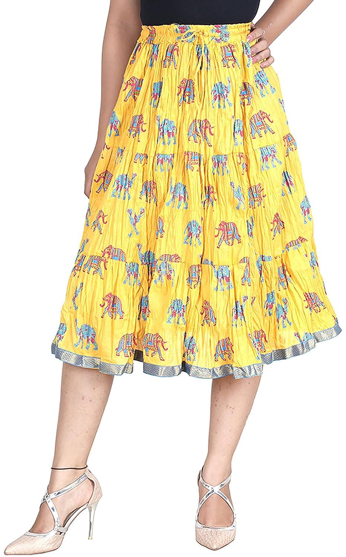 7d3994406 Vani Women's Cotton Ethnic Skirt (MiniElephantYellow, Yellow): Amazon.in:  Clothing & Accessories