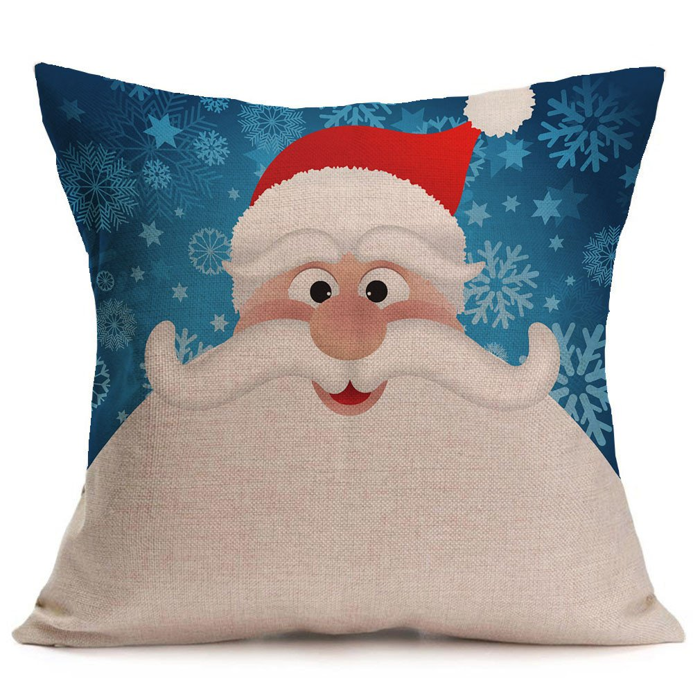 Pgojuni Merry Christmas Linen Accent Pillowcase Decoration Throw Pillow Cover Cushion Cover for Couch/Sofa 1pc 45X45 cm (G)