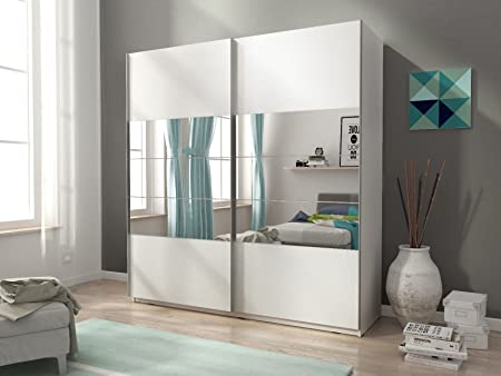 Armario Mia con dos puertas correderas, color mate y espejos (150 cm): Amazon.es: Hogar