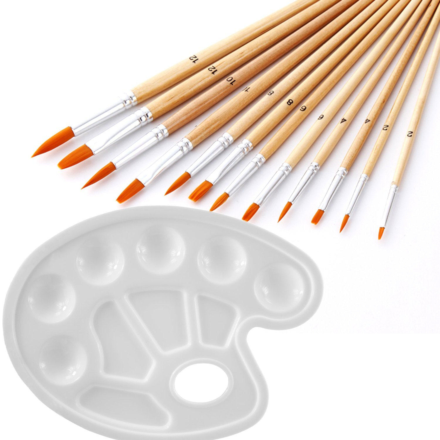 12pcs Paint Brush Set with a Paint Palette Trays, Usparkle Art Supplies Kids Art Set With Round Flat Angle Filbert Fan Points For Craft Face Body Art Painting