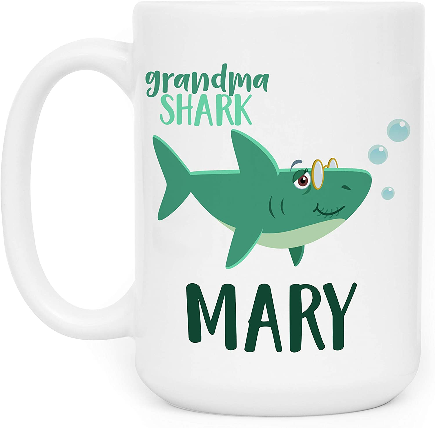 Grandma Shark, Personalized Coffee Mug with Name, Shark Family Gifts, 15 oz - Birthday Gifts for Grandma from Grandson Granddaughter, Mothers Day Gifts, Christmas Gifts, Gift for Grandma - Doo Doo