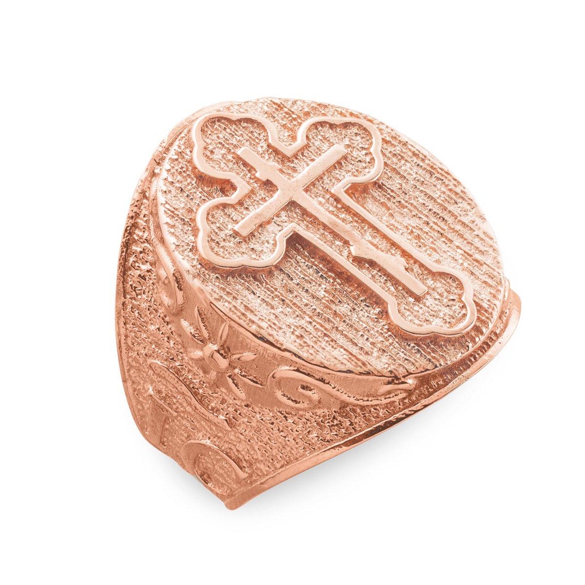 Fine 14k Rose Gold Celtic Cross Trinity Knot Ring (Size 9.75)