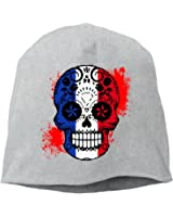 French Flag Sugar Skull Unisex,Women/Men Wool Hat Soft Stretch Beanies Skull Cap Black