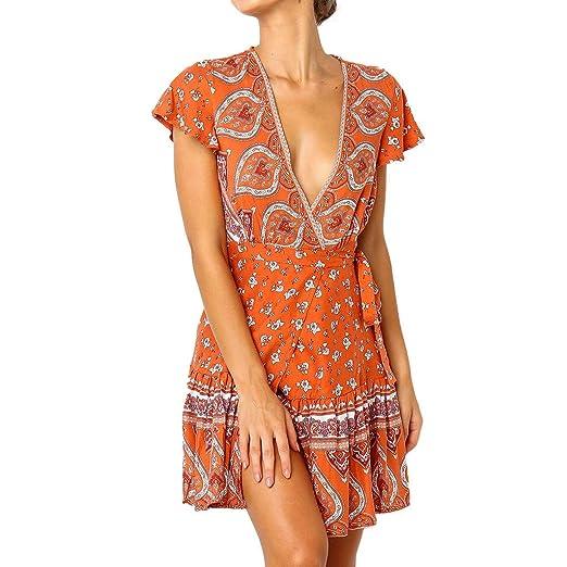 44dd32ef80b47 Amazon.com: Beach Dress ??2019Fashion Women's Boho Short Sleeve ...