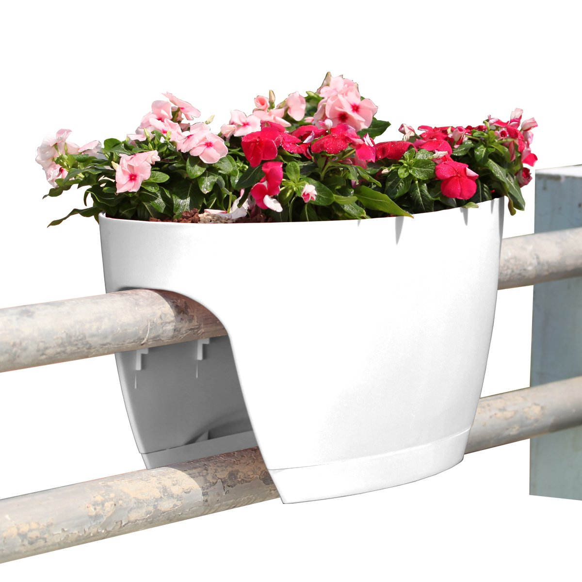 Greenbo XL Deck Rail Planter Box with Drainage trays, 24-Inch, Color White - Set of 6