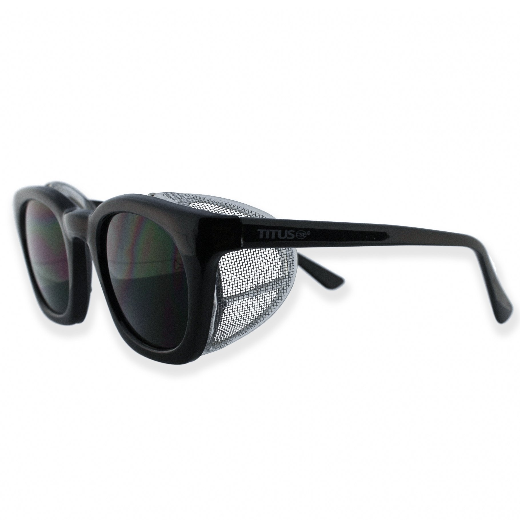 Retro Style Safety Glasses with Side Shield w//o Pouch, Clear Lens - Matte Frame TITUS