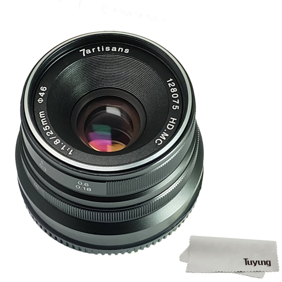 7artisans 25mm F1.8 Manual Focus Lens for Fujifilm Fuji Cameras X-A1 X-A10 X-A2 X-A3 X-at X-M1 XM2 X-T1 X-T10 X-T2 X-T20 X-Pro1 X-Pro2 X-E1 X-E2 X-E2s - Black 25mm F1.8 for Fuji