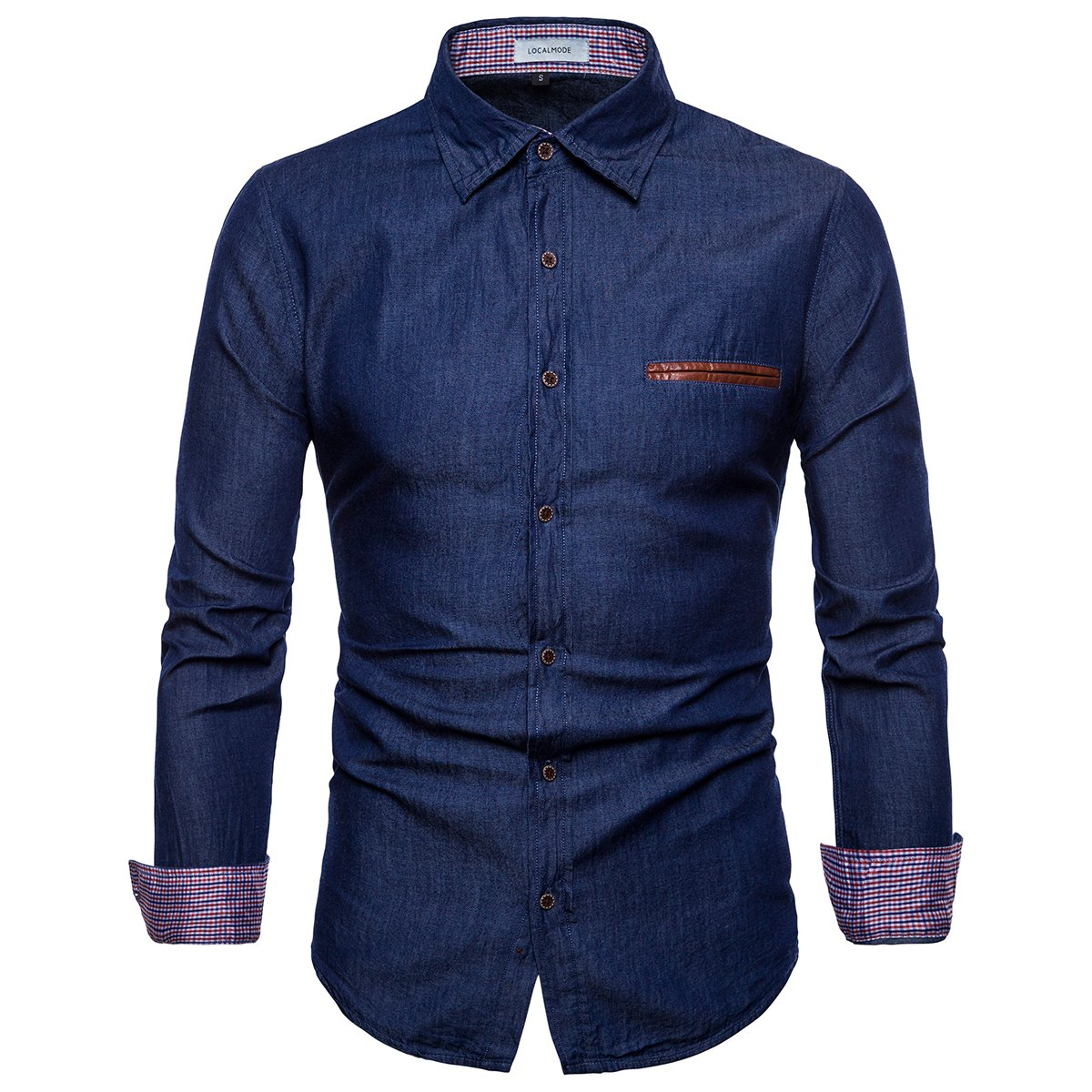 LOCALMODE Men's Casual Dress Shirt Button Down Shirts Fashion Denim Shirt Dark Blue L