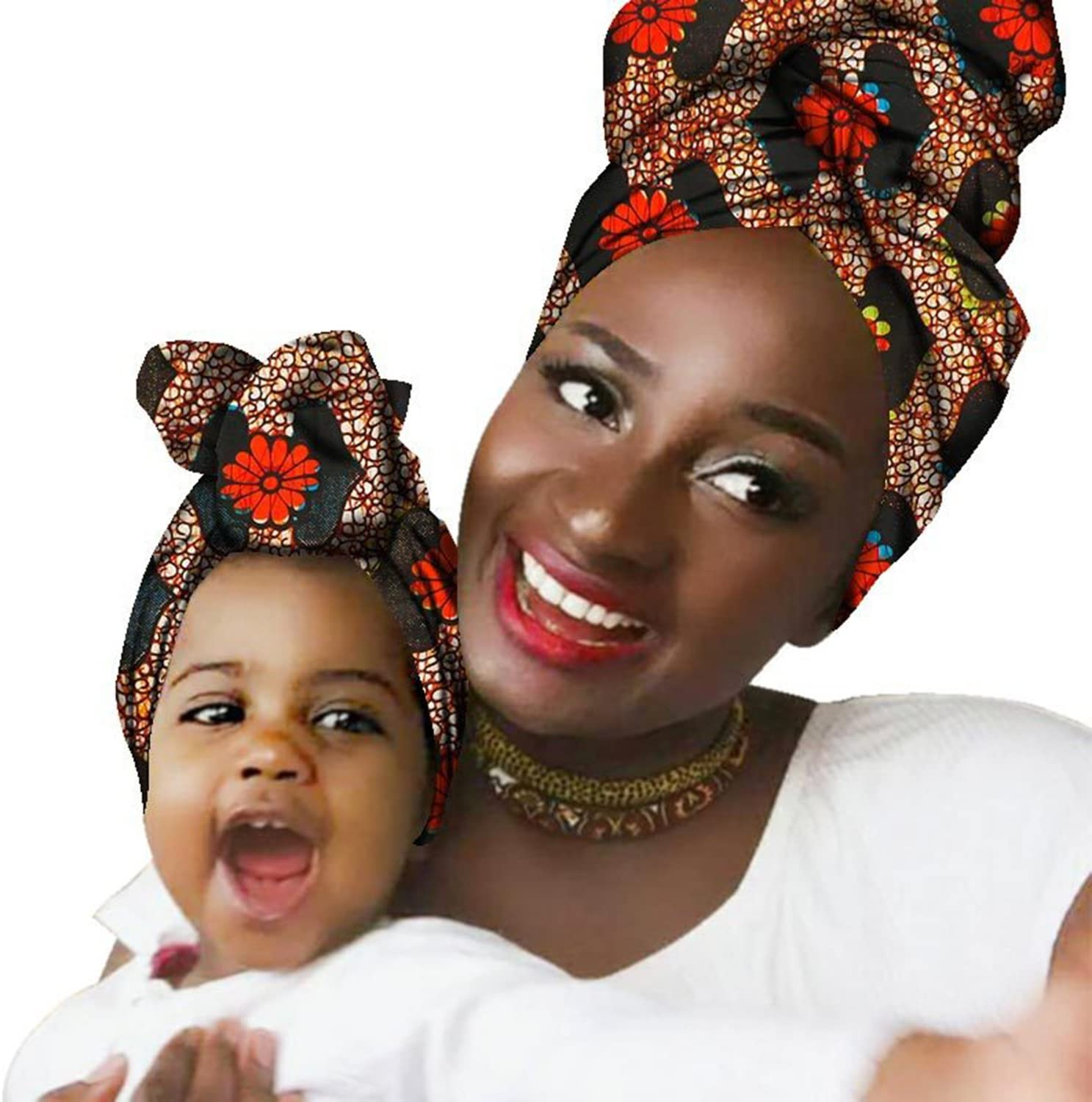 Baby /& Mom Dress Up African Head Scarf Gele Ipele 100/% Cotton Bazin Wax Print Wrap Tie Scarf 2 Pk Chien Mother Daughter Hair Accessory Headband