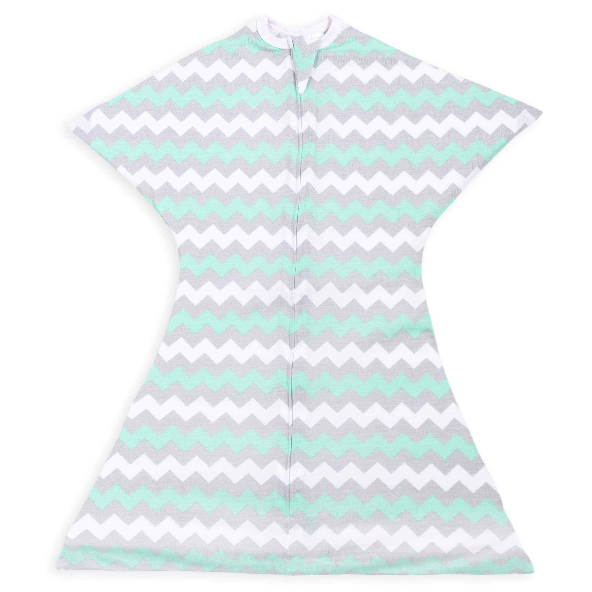 SleepingBaby Chevron Zipadee-Zip Swaddle Transition Baby Swaddle Blanket with Zipper, Comforting Cozy Baby Swaddle Wrap and Baby Sleep Sack (Small 4-8 Months   12-19 lbs, 25-29 inches   Chevron Mint) by SleepingBaby