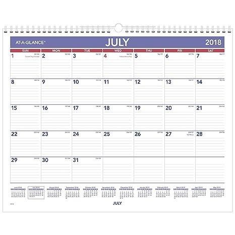 Amazon.com: AT-A-GLANCE académico calendario de pared ...